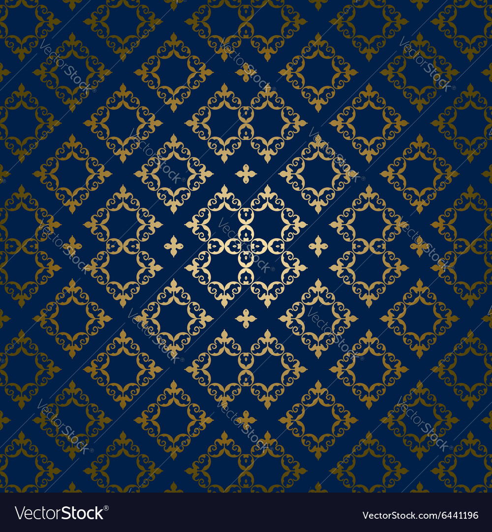 Dark blue background with golden ornament vector