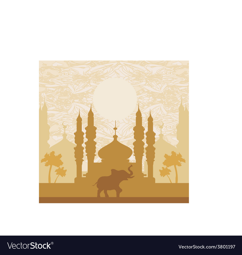 India backgroundelephant building and palm trees vector