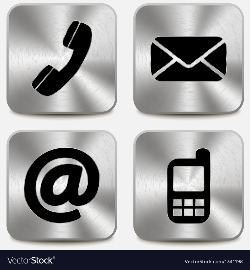 Contact us icons on metallic buttons vector