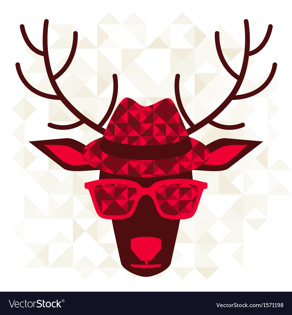 Print with deer in hipster style vector