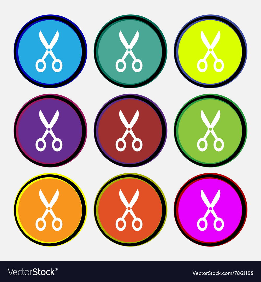 Scissors icon sign nine multi colored round vector