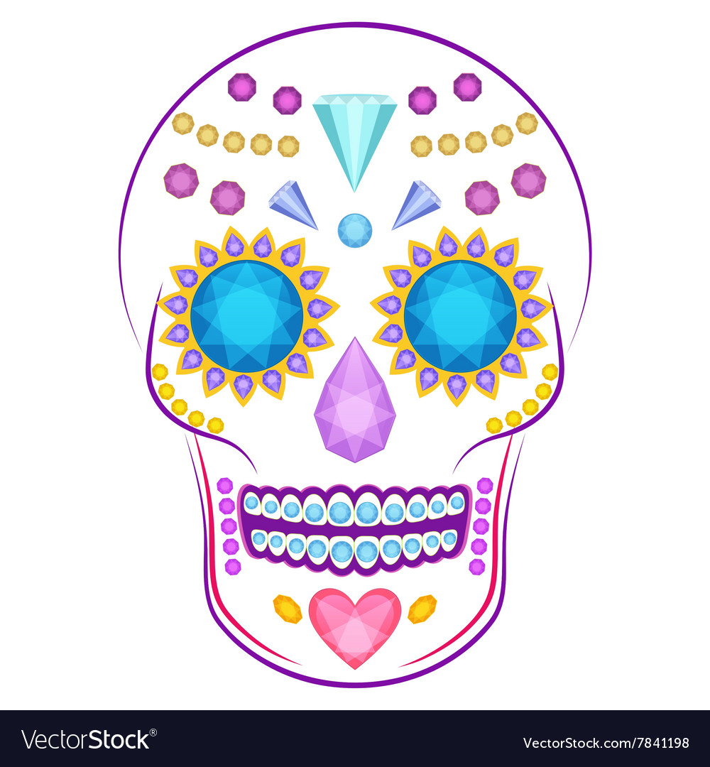 Skull decorated with colorful precious stones and vector