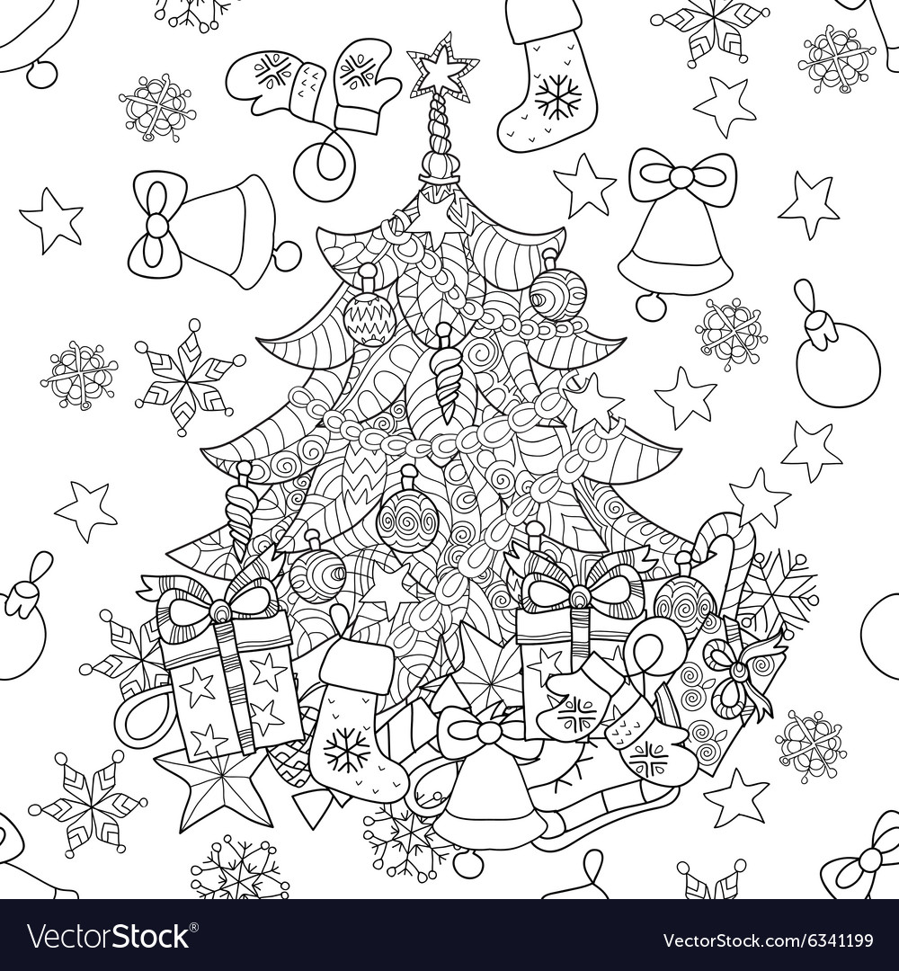 Merry christmas zentangle fir tree doodle vector