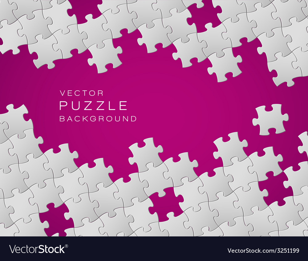 Purple background made from white puzzle pieces vector