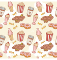 Fastfood sweets delicious seamless pattern vector image