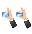 Human hand with a credit card eps10 vector image vector image