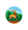 Red Stag Deer Side Marching Circle Cartoon vector image