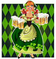 leprechaun girl with beer vector image vector image