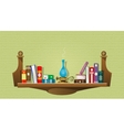 Card with books on bookshelves vector image