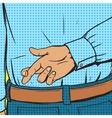 Crossed fingers gesture pop art style vector image