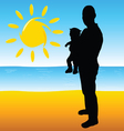 father with a baby on the beach vector image