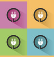 plug icon with shadow on colored backgrounds vector image