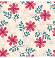 Seamless Pattern Doodle Flowers vector image