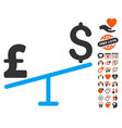 dollar pound swing icon with dating bonus vector image