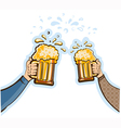 hands man with glasses of beer oktoberfest vector image
