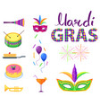 mardi gras poster with colorful carnival symbols vector image