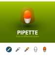 Pipette icon in different style vector image