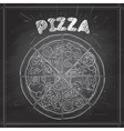 pizza on a black board vector image