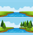 two scenes of river with trees and field vector image