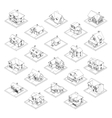 drawing of private house set vector image