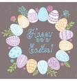 Easter wreath with easter eggs - vector image