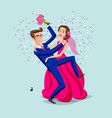 pink blue offer of the hand and heart of the vector image