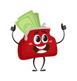 full of money wallet character flat vector image