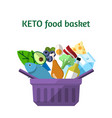 keto food basket in the flat style vector image