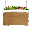 Wooden Sign With Fir Tree And Snow vector image