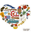 Cuban symbols in heart shape concept vector image