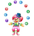 Jester juggling balls with numbers vector image vector image