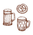 beer pub mugs and pretzel snack sketch vector image