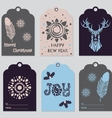 Gift tags set with deer feather snowflake vector image