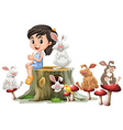 Girl and cute rabbits on log vector image