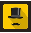 Male black mustache and cylinder icon flat style vector image