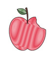 red apple with green leaf and bite food vector image