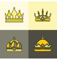 Yellow crown icons on brown background vector image