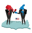 Donkey and elephant fight Democrat and Republican vector image