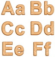 alphabet with texture of wood vector image