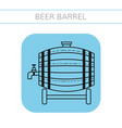 Beer wooden barrel with a tap flat icon object vector image