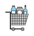 cart shopping supermarket bottle glass drink vector image