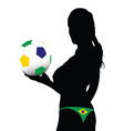 Girl holding the ball with Brazilian colors vector image