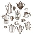 hand-drawn coffee utensils set vector image
