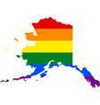 lgbt flag map of alaska vector image