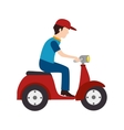 scooter delivery man vector image