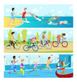 triathlon sport competition race infographic for vector image