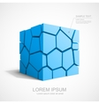 Cracked blue cube vector image