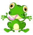 funny frog cartoon sitting vector image
