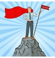 Pop Art Super Businessman on the Top of Mountain vector image