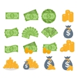 US Dollar Stack Paper Banknotes and Gold Coins vector image